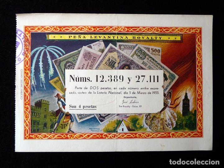 FALLAS VALENCIA 1955. PARTICIPACIÓN 4 PTAS., LOTERIA Nº 12389 Y 27111. PEÑA LEVANTINA ROYELTY. U (2) (Coleccionismo - Lotería Nacional)