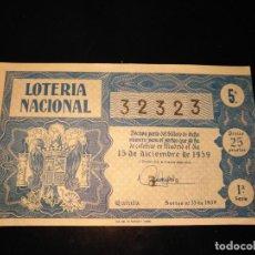 Lotería Nacional: DÉCIMO LOTERIA NACIONAL 1959 SORTEO 35 ESPAÑA . Lote 109059499