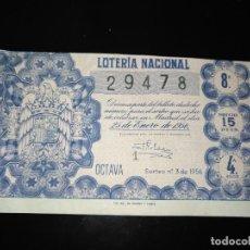 Lotería Nacional: DÉCIMO LOTERIA NACIONAL 1956 SORTEO 3 ESPAÑA . Lote 109059847