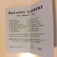Lotería Nacional: PARTICIPACION LOTERIA NACIONAL 1976 RUBI PLAZA MERCADO PESCADOS LLORENS CESTA PESCADO CURIOSO. Lote 109089098