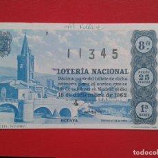Lotería Nacional: DECIMO DE LOTERIA NACIONAL AÑO 1962 , SORTEO Nº 35. Lote 109282503