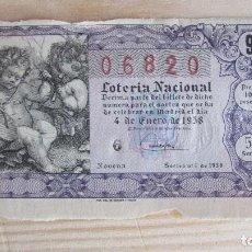 Lotería Nacional: 06820 LOTERÍA NACIONAL SORTEO Nº 1 DE 1958. 5ª SERIE, 9ª. Lote 109364595
