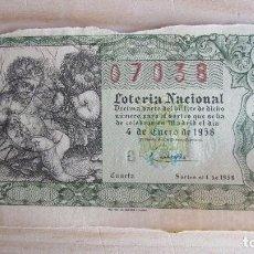 Lotería Nacional: 07038 LOTERÍA NACIONAL SORTEO Nº 1. 4 DE ENERO DE 1958. 1ª SERIE, 4ª. Lote 109364919