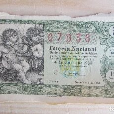 Lotería Nacional: 07038 LOTERÍA NACIONAL SORTEO Nº 1. 4 DE ENERO DE 1958. 1ª SERIE, 3ª. Lote 109364939