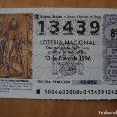 Lotería Nacional: DECIMO ESCULTURA SAN MAURO 13 ENERO 1996. Lote 109460255
