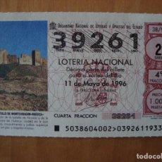Lotería Nacional: DECIMO CASTILLO DE MONTEARAGON HUESCA 11 MAYO 1996. Lote 109462079