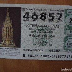 Lotería Nacional: DECIMO GRAN CUSTODIA EN LA CATEDRAL DE TOLEDO 8 JUNIO 1996. Lote 109462795
