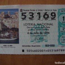 Lotería Nacional: DECIMO CADIZ Y EL MAR 6 JULIO 1996. Lote 109463295