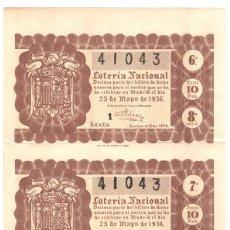 Lotaria Nacional: LOTE DE 2 RECIBOS LOTERIA NACIONAL 25 DE MAYO DE 1956. Lote 109794942