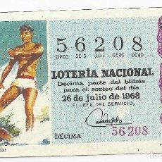 Lotería Nacional: LOTERIA NACIONAL 5-FEBRERO-1968 TEMA DEPORTIVO (ESQUI NAUTICO) DÉCIMA 56208 PRECIO 50 PESETAS. S/C. Lote 110062283