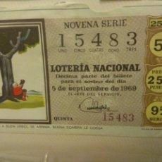Lotería Nacional: LOTERIA NACIONAL 5DE SEPTIEMBRE DE 1969.. Lote 110073002