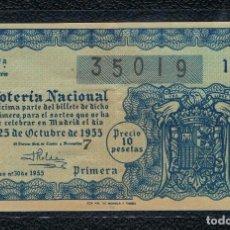 Lotería Nacional: DECIMO LOTERIA NACIONAL AÑO 1955 SORTEO 30. Lote 110752439