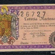 Lotería Nacional: DECIMO LOTERIA NACIONAL AÑO 1946 SORTEO 21. Lote 111053231