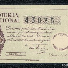 Lotería Nacional: DECIMO LOTERIA NACIONAL AÑO 1944 SORTEO 5. Lote 111440655
