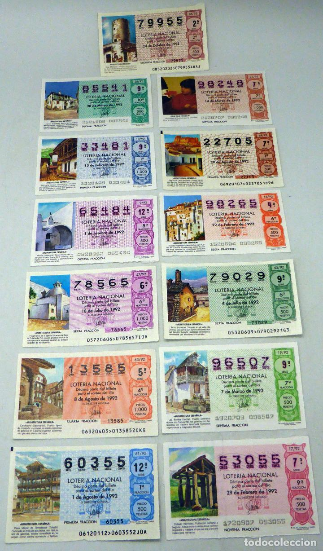 13 DÉCIMOS LOTERÍA NACIONAL SERIE ARQUITECTURA ESPAÑOLA 1992 (Coleccionismo - Lotería Nacional)