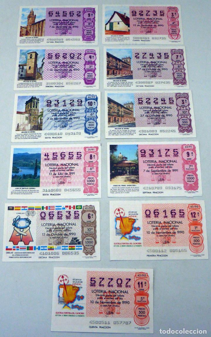 11 DÉCIMOS LOTERÍA NACIONAL SERIE BELLEZAS DE ESPAÑA LUCHA CONTRA CÁNCER Y CIBELAE 1990 Y 1991 (Coleccionismo - Lotería Nacional)