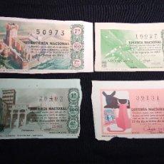 Lotería Nacional: 4 DÉCIMOS DE LOTERIA NACIONAL 1962-1964-1965-1966. Lote 111722011