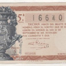 Lotería Nacional: LOTERIA NACIONAL SORTEO 27 DE 1942. Lote 111773343