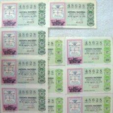Lotería Nacional: LOTERIA NACIONAL **Nº 48628 (12 BILLETES) SORTEO 23-08-75 - SERIE 2ª Y 5ª (TEMA FILATELIA). Lote 112020763