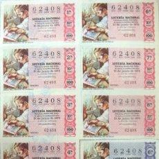 Lotería Nacional: LOTERIA NACIONAL **Nº 62408 (11 BILLETES) SORTEO 21-06-75 - SERIE 10ª Y 6ª(2) (TEMA FILATELIA). Lote 112021155