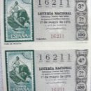 Lotería Nacional: LOTERIA NACIONAL ***Nº 16211*** (2 BILLETES) SERIE 7ª / 3ª Y 4ª - TEMA TAUROMAQUIA. Lote 112036195