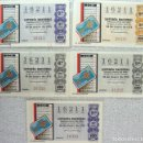 Lotería Nacional: LOTERIA NACIONAL ***Nº 16211*** (5 BILLETES) SORTEO 24-05-75 - VARIAS SERIES - TEMA FILATELIA. Lote 112036779