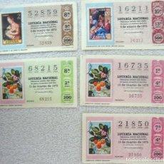 Lotería Nacional: LOTERIA NACIONAL **NOS.16735, 16211, 21850, 52859, 68215** 5 BILLETES VARIAS SERIES -TEMA FILATELIA. Lote 112037847