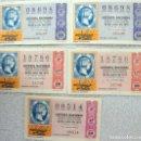 Lotería Nacional: LOTERIA NACIONAL ***NOS.00514, 08698, 18786*** 5 BILLETES VARIAS SERIES - TEMA FILATELIA (VER FOTOS). Lote 112038287