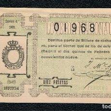 Lotería Nacional: DECIMO LOTERIA NACIONAL AÑO 1909 SORTEO 4. Lote 112230431