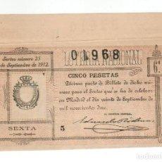Lotería Nacional: DECIMO LOTERIA NACIONAL AÑO 1912 SORTEO 25. Lote 112264079