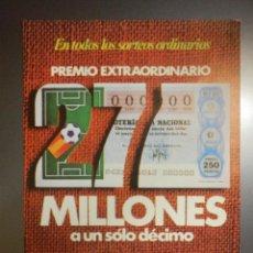 Lotería Nacional: LOTERÍA NACIONAL - CARTEL ANUNCIADOR - 27 MILLONES 2 REINTEGROS - 1981 - 15 X 21 CM-. Lote 112383979