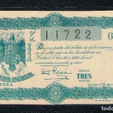 Lotería Nacional: DECIMO LOTERIA NACIONAL AÑO 1945 SORTEO 12. Lote 112731899