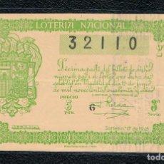 Lotería Nacional: DECIMO LOTERIA NACIONAL AÑO 1945 SORTEO 17. Lote 112732251