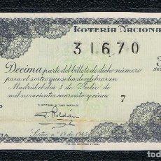 Lotería Nacional: DECIMO LOTERIA NACIONAL AÑO 1945 SORTEO 19. Lote 112732451