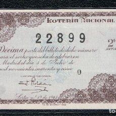 Lotería Nacional: DECIMO LOTERIA NACIONAL AÑO 1945 SORTEO 19. Lote 112732523