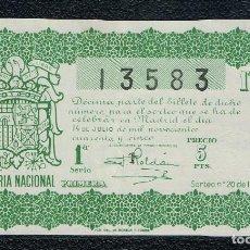 Lotería Nacional: DECIMO LOTERIA NACIONAL AÑO 1945 SORTEO 20. Lote 112732667