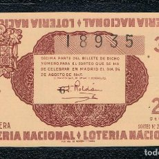 Lotería Nacional: DECIMO LOTERIA NACIONAL AÑO 1945 SORTEO 24. Lote 112732775