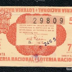 Lotería Nacional: DECIMO LOTERIA NACIONAL AÑO 1945 SORTEO 24. Lote 112732839