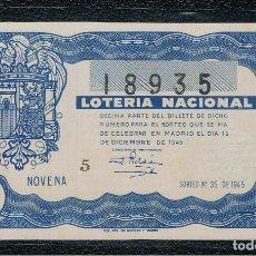 Lotería Nacional: DECIMO LOTERIA NACIONAL AÑO 1945 SORTEO 35. Lote 112733471