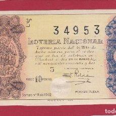 Lotería Nacional: LOTERIA NACIONAL SORTEO 9 DE 1942. Lote 112745791