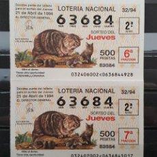 Lotería Nacional: LOTERIA NACIONAL JUEVES. GATO MONTES. 32/94. 21 DE MARZO DE 1994. Lote 113337511