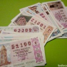 Lotería Nacional: LOTE 33 CUPONES LOTERIA NACIONAL 1989 ALGUNO PUEDE ESTAR DETERIORADO. Lote 113433935