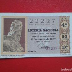 Lotería Nacional: DECIMO DE LOTERIA NACIONAL AÑO 1967 , SORTEO Nº 2. Lote 113570631