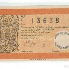 Lotería Nacional: DECIMO LOTERIA NACIONAL AÑO 1943 SORTEO 6. Lote 113907335