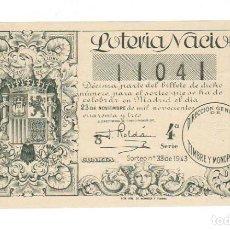 Lotería Nacional: DECIMO LOTERIA NACIONAL AÑO 1943 SORTEO 33. Lote 113907947