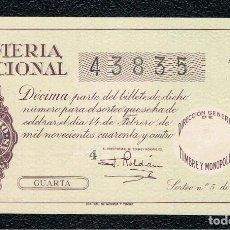 Lotería Nacional: DECIMO LOTERIA NACIONAL AÑO 1944 SORTEO 5. Lote 113987963