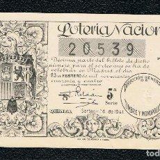 Lotería Nacional: DECIMO LOTERIA NACIONAL AÑO 1944 SORTEO 6. Lote 113988031