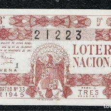 Lotería Nacional: DECIMO LOTERIA NACIONAL AÑO 1945 SORTEO 33. Lote 114077883