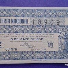 Lotería Nacional: DECIMO DE 1952 SORTEO 14. Lote 114272403