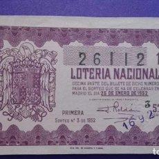 Lotería Nacional: DECIMO DE 1952 SORTEO 3. Lote 114272643